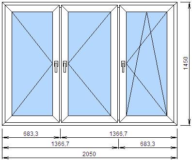 Трехстворчатое окно с двумя поворотными и поворотно-откидной створками